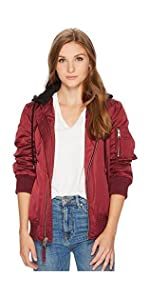 36d0bbefc2a Levi s Women s Flight Satin Bomber with Jersey Hood at Amazon ...