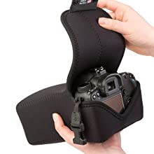 turn the padded neoprene back over the camera for a snug fit