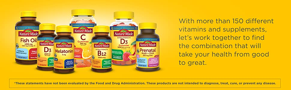 With more than 150 different vitamins and supplements, let's work together