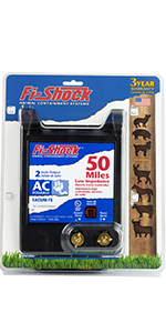 fi-shock, charger, electric fencing, 50 miles, ac powered, cattle, horses, bison, predators
