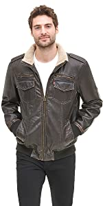 Vintage Deer Faux Leather Sherpa Lined Aviator Bomber