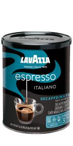 lavazza, espresso, decaffeinato, decaffeinated, espresso, coffee, tin, can