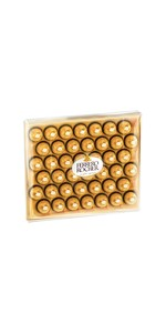 Ferrero Rocher, large box of chocolates, pralines, rocher, nuts, hazelnuts, milk chocolate