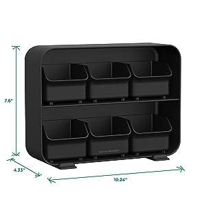 tea bag holder, tea bags, individual, black, red, white, dimensions, tea, holder, removable, drawers
