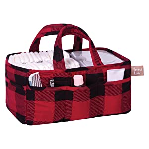 storage caddy, diaper caddy, nursery storage, buffalo check storage, nursery decor