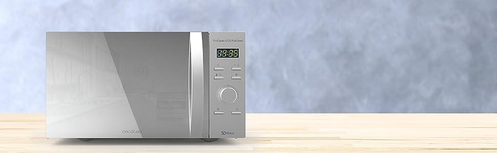 Cecotec Microondas con Grill ProClean 6120. Capacidad de 23l, Revestimiento Ready2Clean, 800 W de Potencia, Grill 1000W, 5 Niveles Funcionamiento, 8 ...