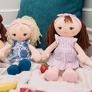 baby gund plush baby dolls toddler girls blonde brunette soft safe play stuffie stuffed animal