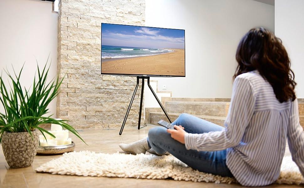 Hama Tv Ständer Im Staffelei Design Stabiler Fernsehständer Für 37 75 Zoll Höhenverstellbarer Tv Stand Als Tripod Kompaktes Tv Stativ Vesa Kompatibler Bodenständer Schwarz Heimkino Tv Video