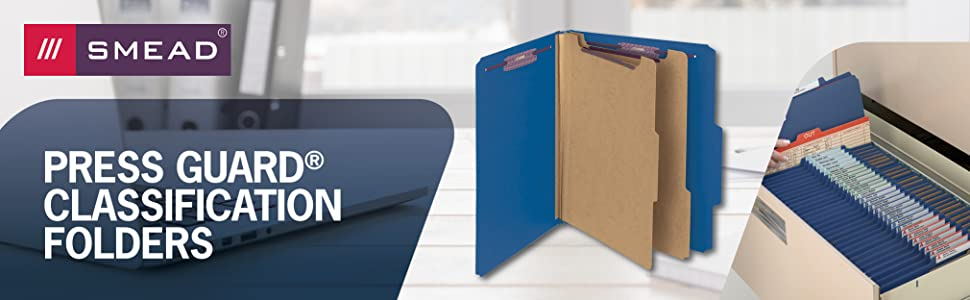 Smead banner, classification file folders, legal and letter sizes, SafeSHIELD coated fasteners