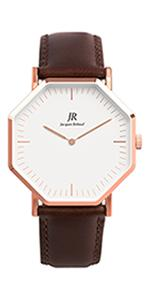 jacques reboul;watch;timepiece;swiss;fashion;style;rose gold;black;silver;leather strap;wrist;gift