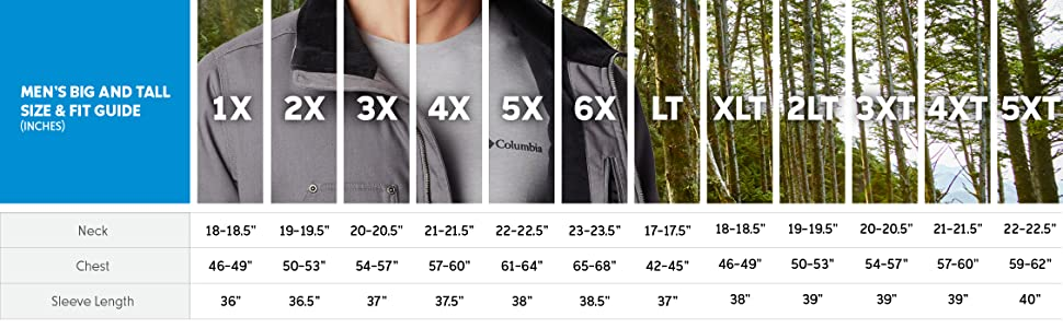 Men's jacket big and tall size and fit guide