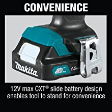 convenience 12v max cxt slide battery design enables tool stand