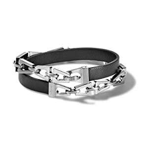 Bulova Classic double wrap leather bracelet, tuning fork chain, stainless steel,