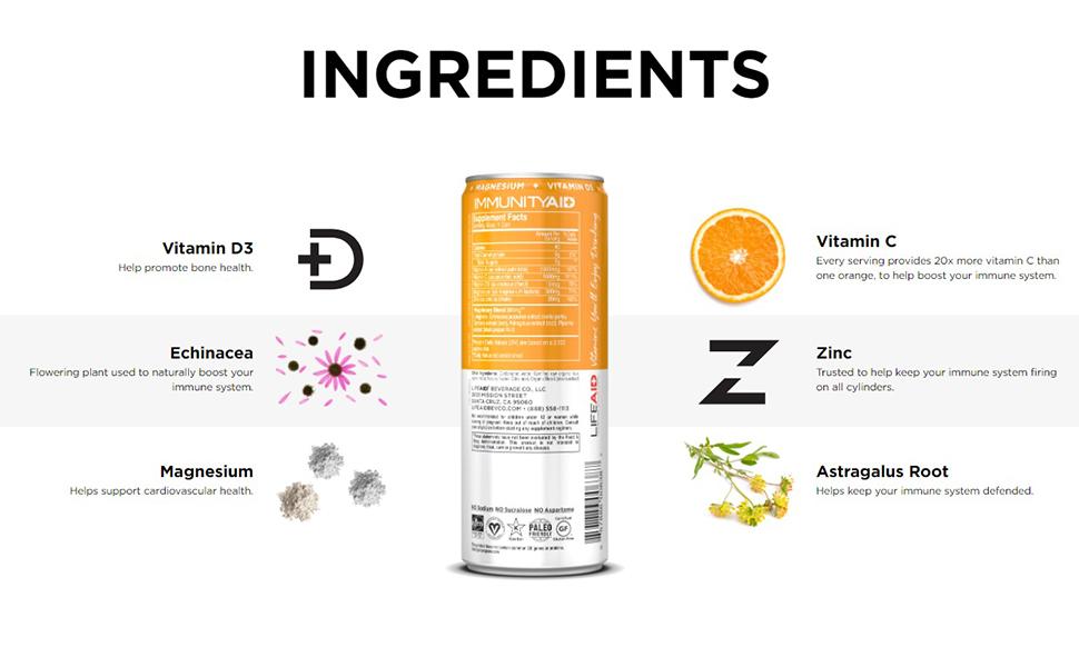 Ingredients in immunity aid vitamin d  echinacea magnesium zin root