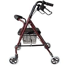 Mobiclinic, Modelo Escorial, Andador para minusvalidos, ancianos, mayores o adultos, de aluminio, ligero, plegable, con asiento y 4 ruedas. Color ...
