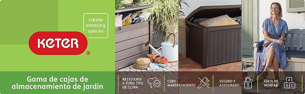 Keter - Arcón exterior Comfy, Capacidad 270 litros, Color marrón ...