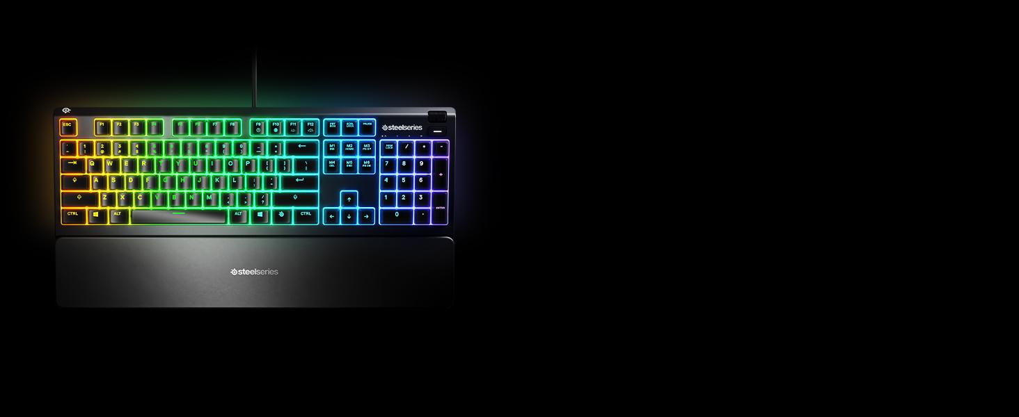 SteelSeries Apex 3 - Teclado RGB para Gaming (Iluminación RGB de 10 Zonas, reposamuñecas magnético Superior) Teclado QWERTY Portugués