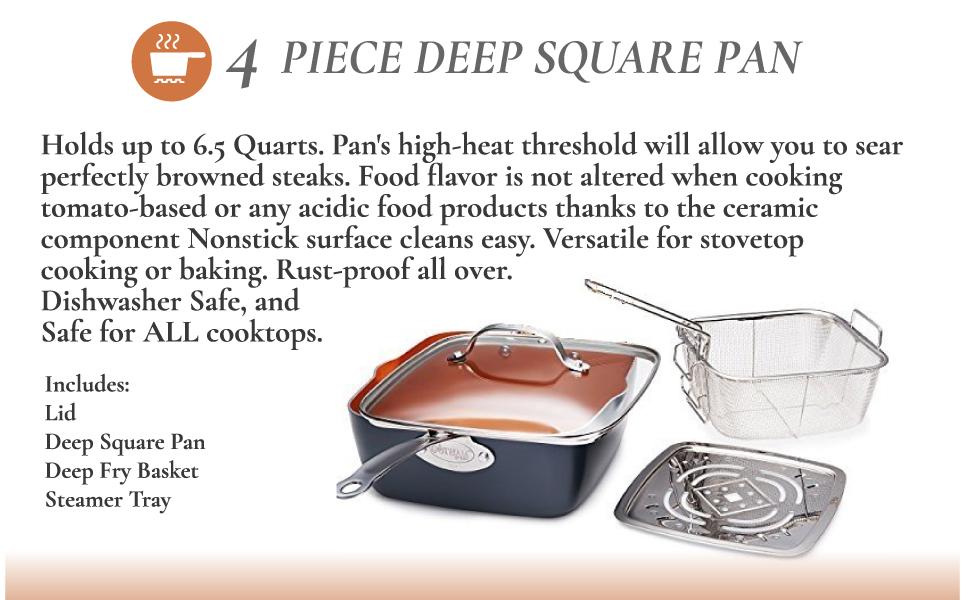 4 pc deep square pan, fryer, cooker, gotham steel, non-stick, 20 pc set