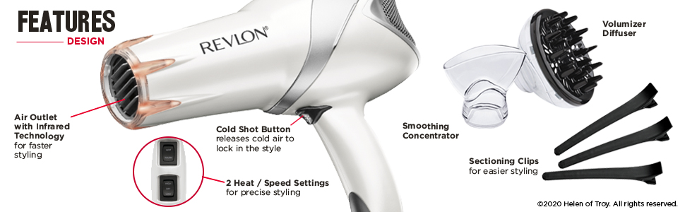hair dryer; hair dryers; blow dryer; blow dryers; infrared heat; lightweight; revlon; fast dry