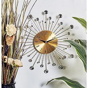 Amazon Com Benzara Metal Wall Clock 15 D One Size Gold Black Home Kitchen
