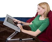 adjustable ergonomic aluminum laptop tablet lap desk stand bed couch