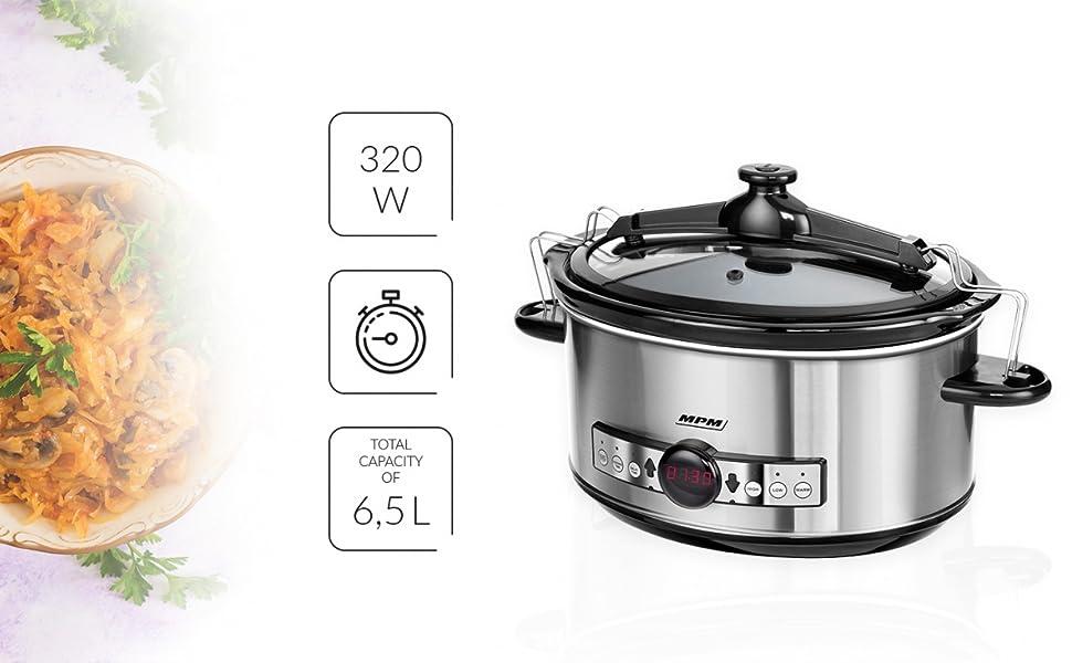 MPM MWO-01M Olla cocción Lenta programable 6,5 litros, cubeta ...
