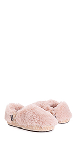 MUK LUKS, joanna, slipper, fuzzy, faux fur, pink