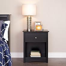 Prepac BDC-2401 Black Sonoma 1-drawer Tall Nightstand