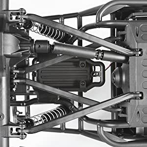 Top view of chassis showing Wraith Spawn's optimized 4-link suspension