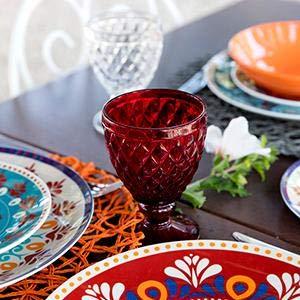 Six  voyage au centre de la table au charme persanplaces de table. En porcelaine et grès
