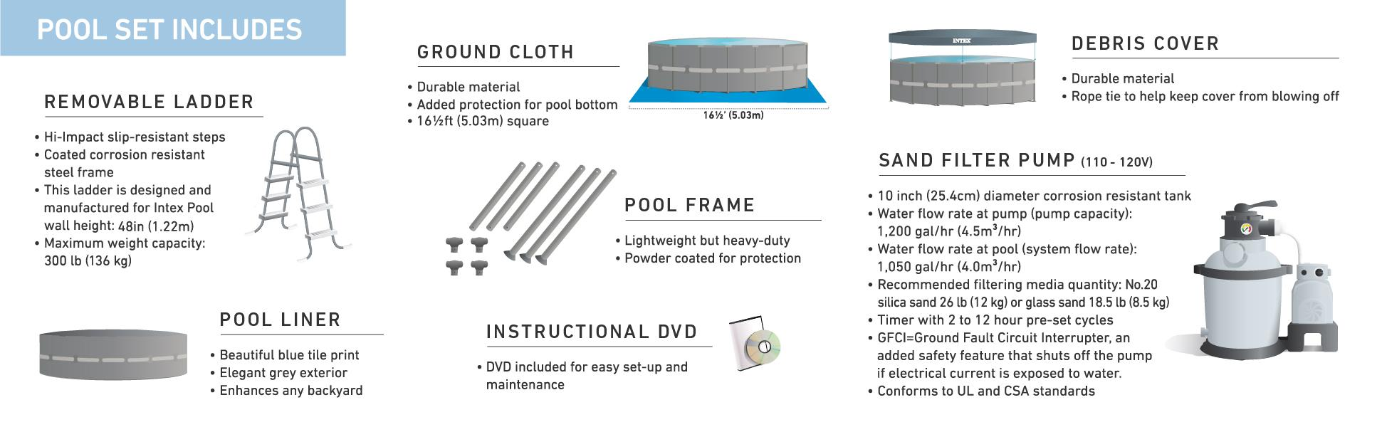amazon com intex 16ft x 48in ultra frame pool set with sand