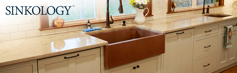 Adams Farmhouse Apron Front Handmade Copper Kitchen Sink 33 in ...