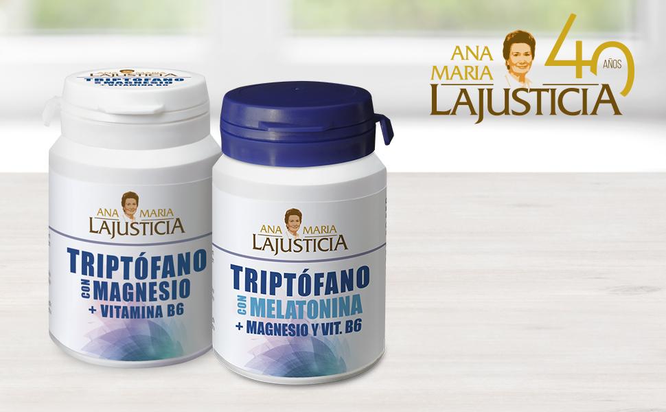 Ana Maria Lajusticia - Triptófano con melatonina + magnesio + VIT B6 – 60 comprimidos. Induce al sueño y mejora la calidad del sueño. Apto para veganos. Envase para 30 días de