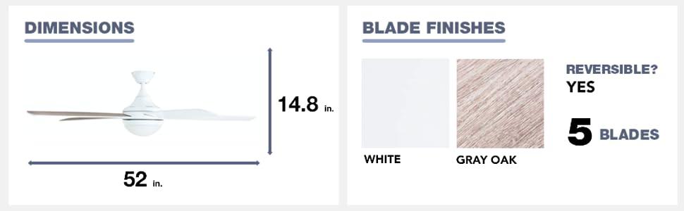 fan dimensions, blade finish, gray oak, white, 5 blades, reversible, yes, 52 in, 14.8