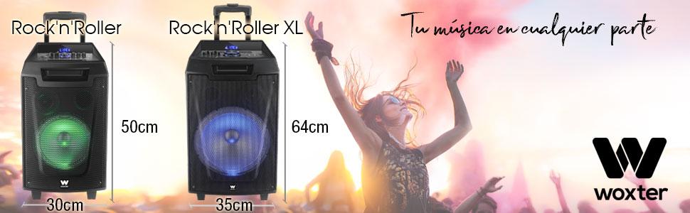 Woxter RocknRoller XL - Altavoz trolley con función karaoke (100 W, display, bluetooth, lector SD/USB, AUX, prioridad mic, mando a distancia, ...