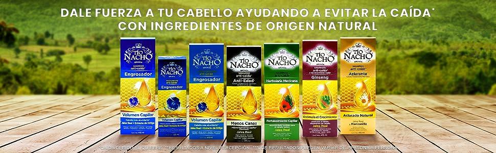 ingredientes, anticaída, shampoo, tío nacho, origen, natural, jalea real, cabello, pelo