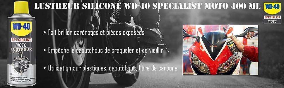 lustreur silicone, lustrer moto, faire briller moto, WD-40, carénage, garde-boue, fibre carbone