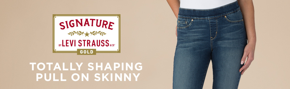 Signature by Levi Strauss & Co. Gold Label Women's Totally Shaping Pull on Skinny Jeans