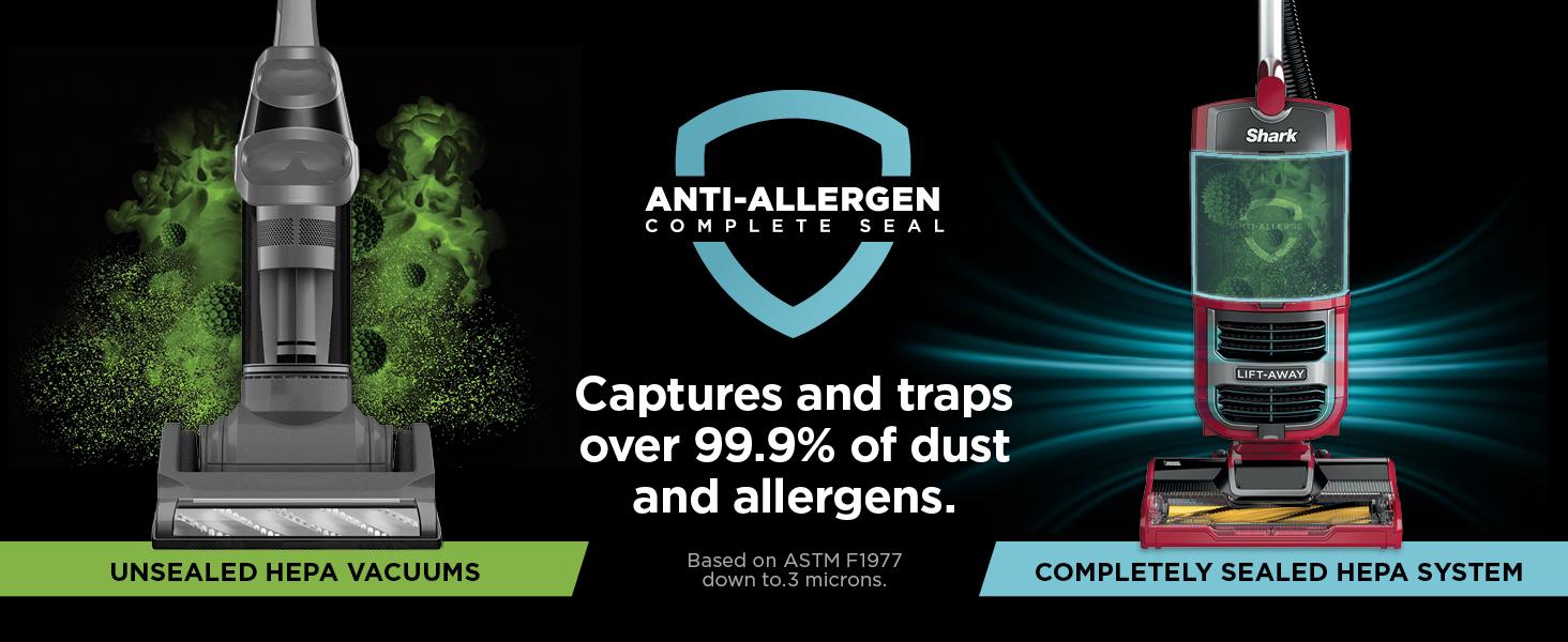 hepa vacuum, hepa filter, anti allergen vacuum, clean air vacuum, anti allergen complete seal