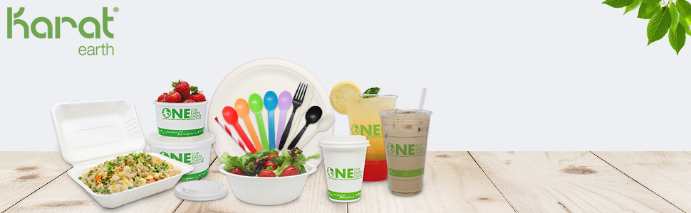 Karat Earth cups,lids and straws,dinnerware,utensils,take-out food containers