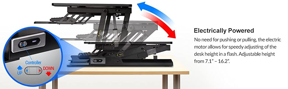 Rosewill Height Adjustable Sit/Stand Desk Computer Riser RDR10, Electrically Powered