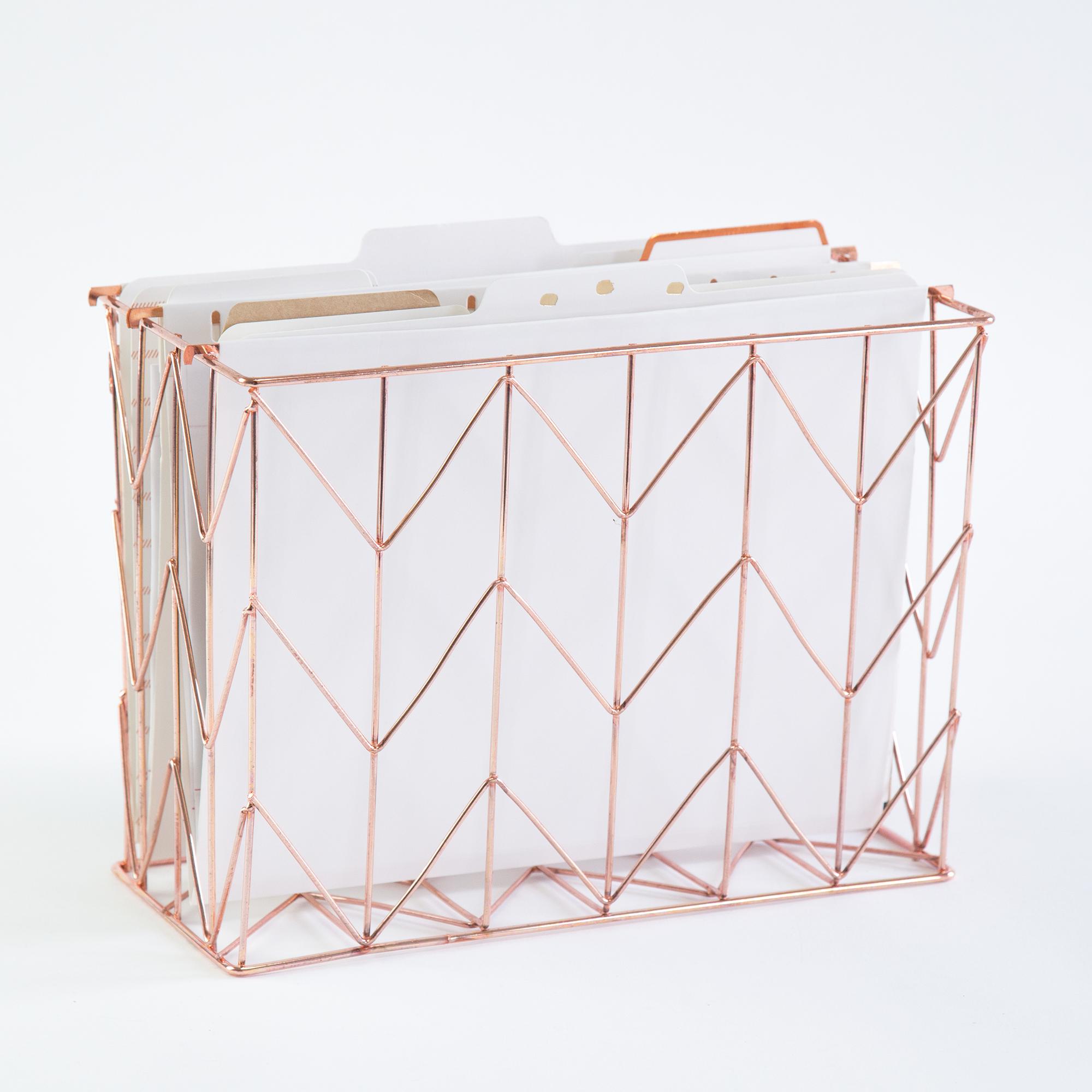 U Brands Hanging File Desk Organizer Wire Metal Copper