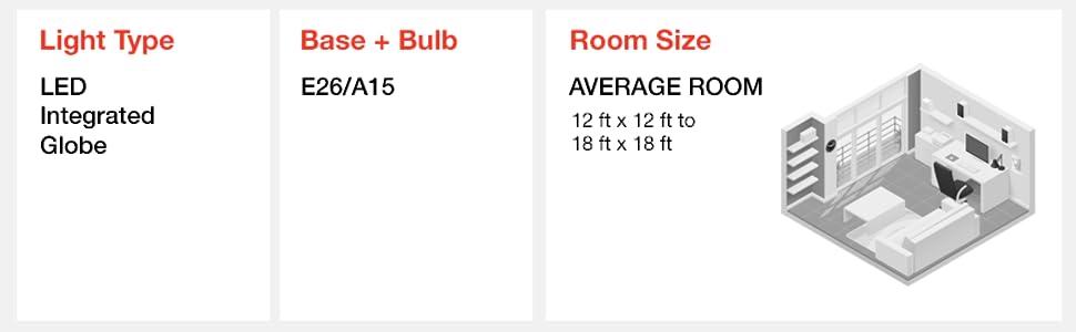 Light type, LED integrated globe, base, bulb, E26/A15, room size, average room
