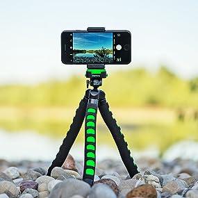 night black Mantona kaleido Flex leichtes Flex Stativ mit hochwertigem 360/° Kugelkopf, geeignet f/ür Digital und Videokameras, Smartphones und Action Cams