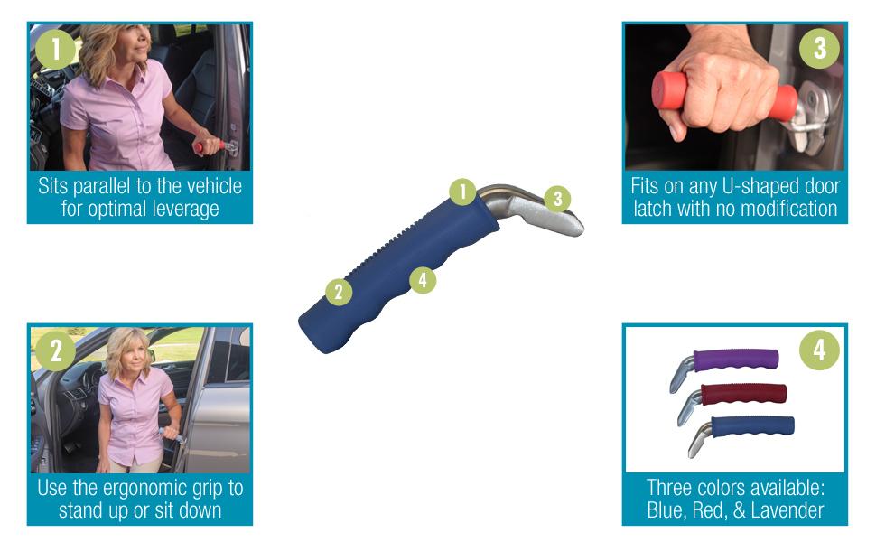 auto cane able life vehicle leverage door striker latch purple blue lavender standing handle grip
