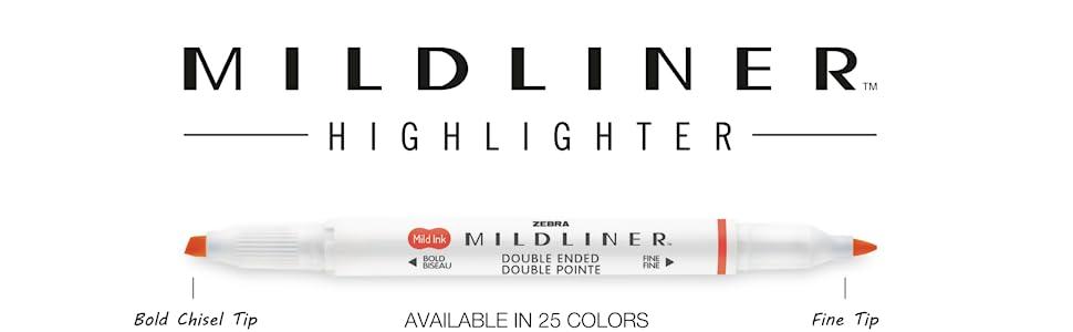 zebra pen, mildliner collection, double ended highlighter, bold chisel tip, fine tip, mild colors