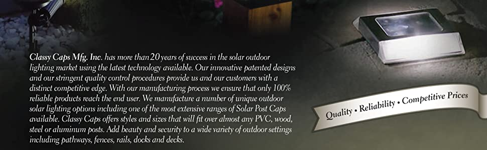 Classy Caps solar fence post cap deck and wall outdoor accent lighting