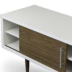 Tv Stand, Contemporary Furniture, White And Walnut, White, Walnut, Walnut  Veneer