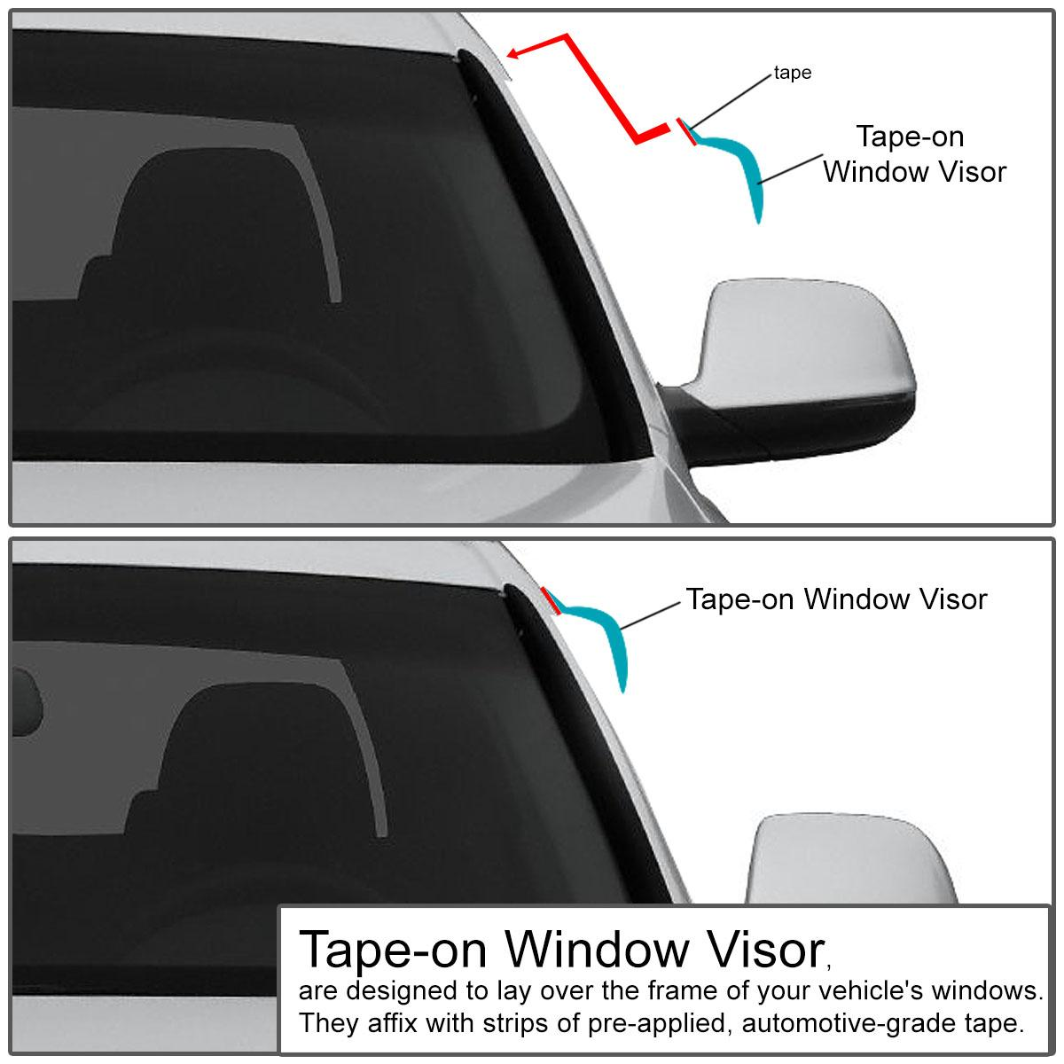 DNA MOTORING WVS-133 4pcs Window Vent Visor Deflector Rain Guard Dark Smoke