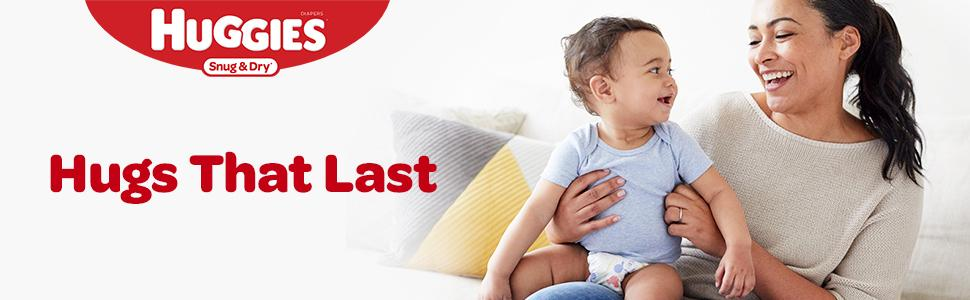 Huggies Snug and Dry diapers let you give hugs that last